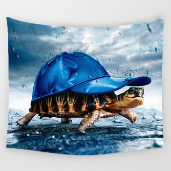 Comwarm Funny Marine Organism Pattern Tapestry Turtle Jellyfish Printed Wall Hanging Gobelin for Rug Bedroom Curtain Decor Mural