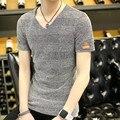 Мужской с коротким рукавом футболка летние сплошной цвет старинные широкий дышащий хлопок v-образным мужская одежда