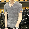 Men's short-sleeved T-shirt summer solid color vintage loose breathable cotton men's V-neck T-shirt men clothing