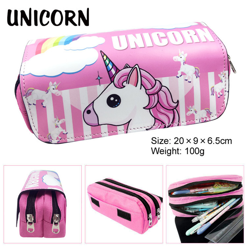 School Pencil Case Kawaii Cute Uncorn Penal Pencilcase for Girls Boys Pen Bag PU Leather Printing Penalties Stationery Pouch Box