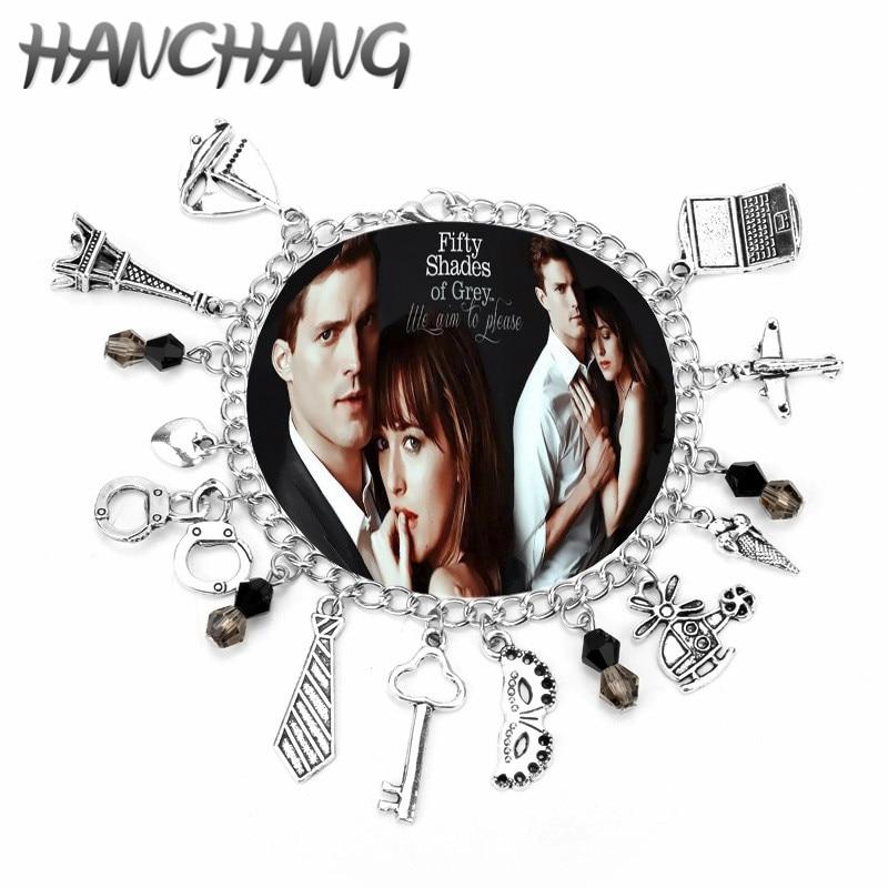 50 Fifty Shades Of Grey Fashion Charm Bracelet Hand Catenary Tie Handcuffs Gray Bracelets Crime Bracelet