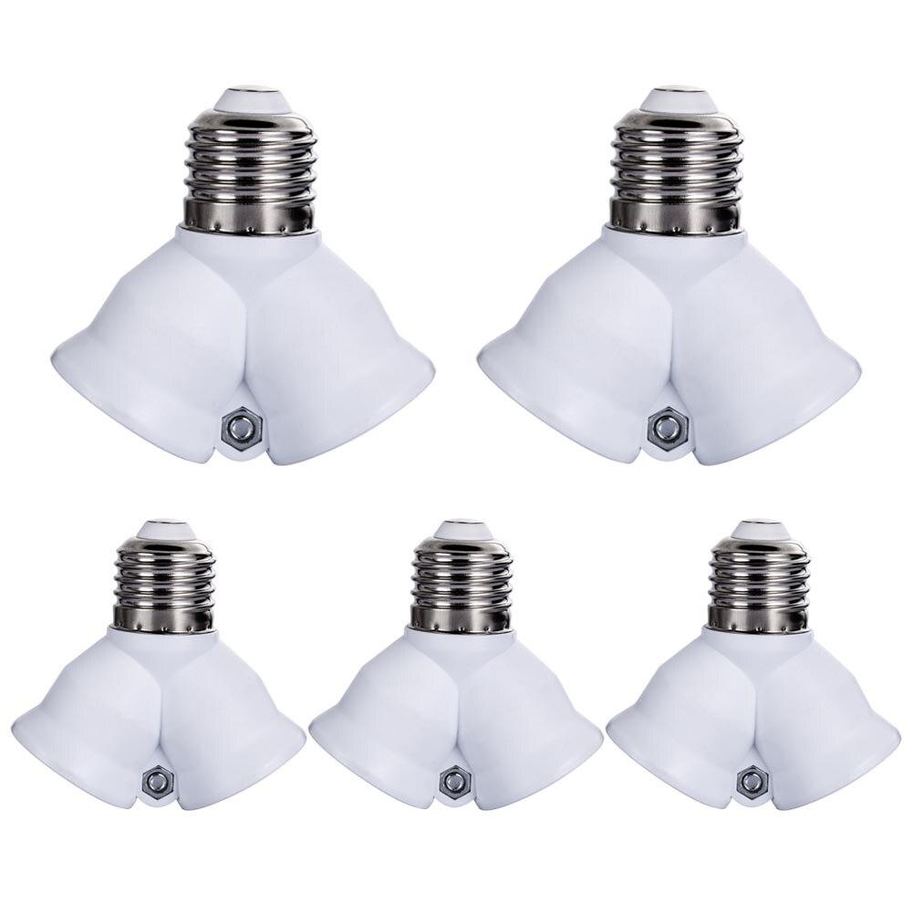 5PCS Fireproof E27 to 2 E27 Lamp Holder Converter Socket Led Light Bulb Base type Splitter Adapter For Led Lamp