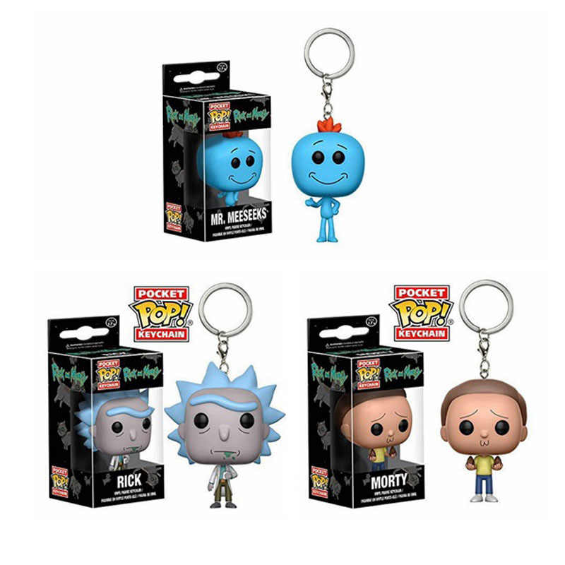 Funko Pop Rick Pocket Rick And Morty Keychain Mr Meeseeks Action Figure Toys