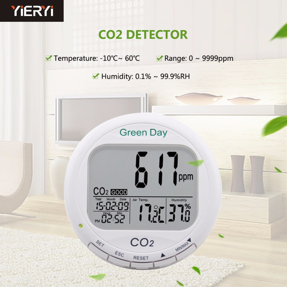 цены 3 in 1 Desktop Carbon Dioxide Datalogger Range 0~9999ppm Indoor Air Quality Temperature RH AZ7788 CO2 Gas Detector Meter