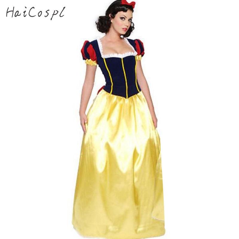 Plus la Taille Adulte Blanche Neige Costume Pourim Carnaval Halloween Costumes pour Femmes de Conte de Fées Princesse Cosplay Femelle Longue Robe