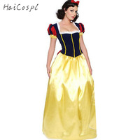 Plus Size XXL Adult Snow White Costume For Women Carnival Halloween Costumes Fairy Tale Long Dress