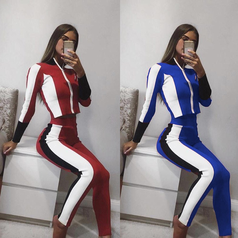 2018 Autumn New Women Casual Tracksuit Short Long Sleeve Sweatsuit Crop Tops And Pants Two Piece Sets Female Stripe Outfit
