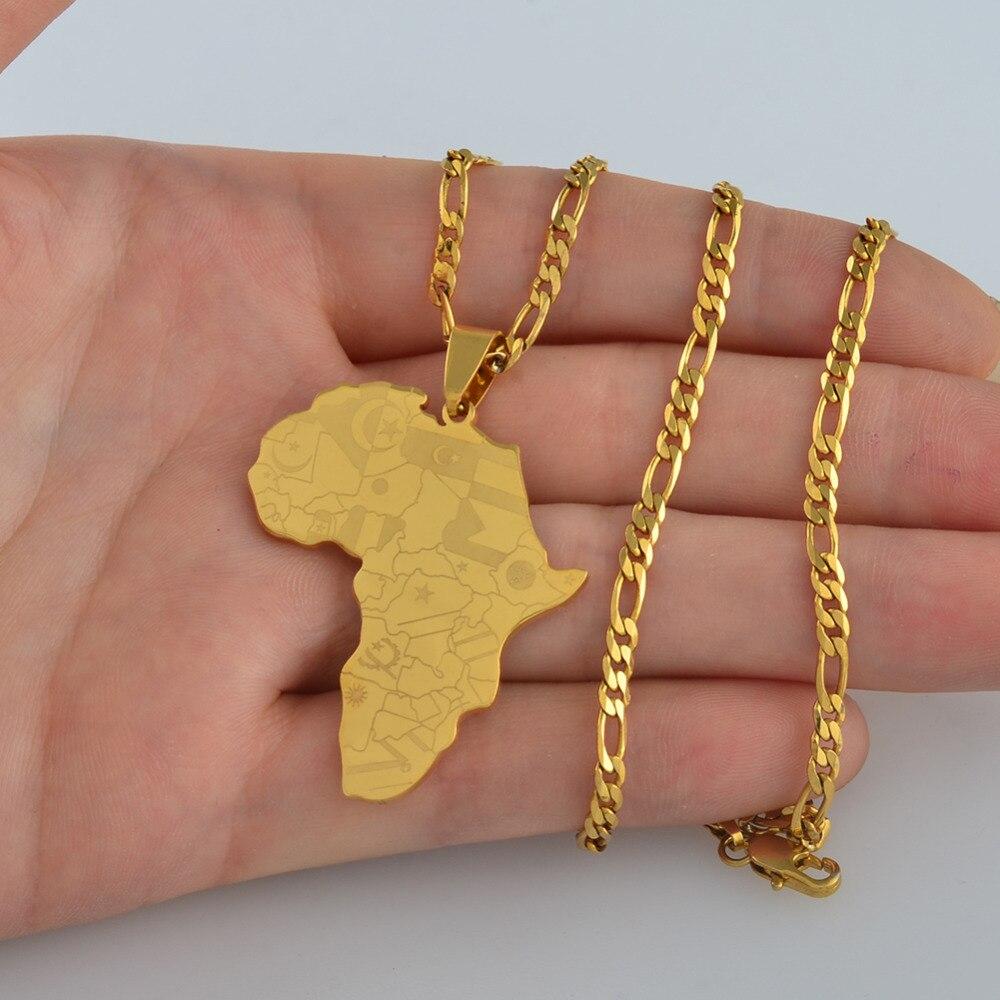 Anniyo цвета золота Карта Африки с кулон в форме флага цепи ожерелья карты Африки ювелирные изделия для женщин мужчин#035321P
