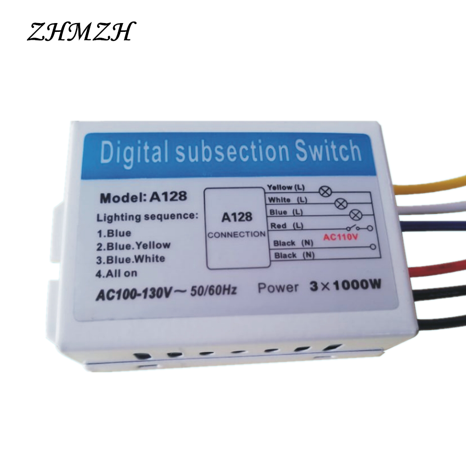 110V 2 Ways 3 Ways Digital Subsection Switch for Ceiling Light 2/3 ...