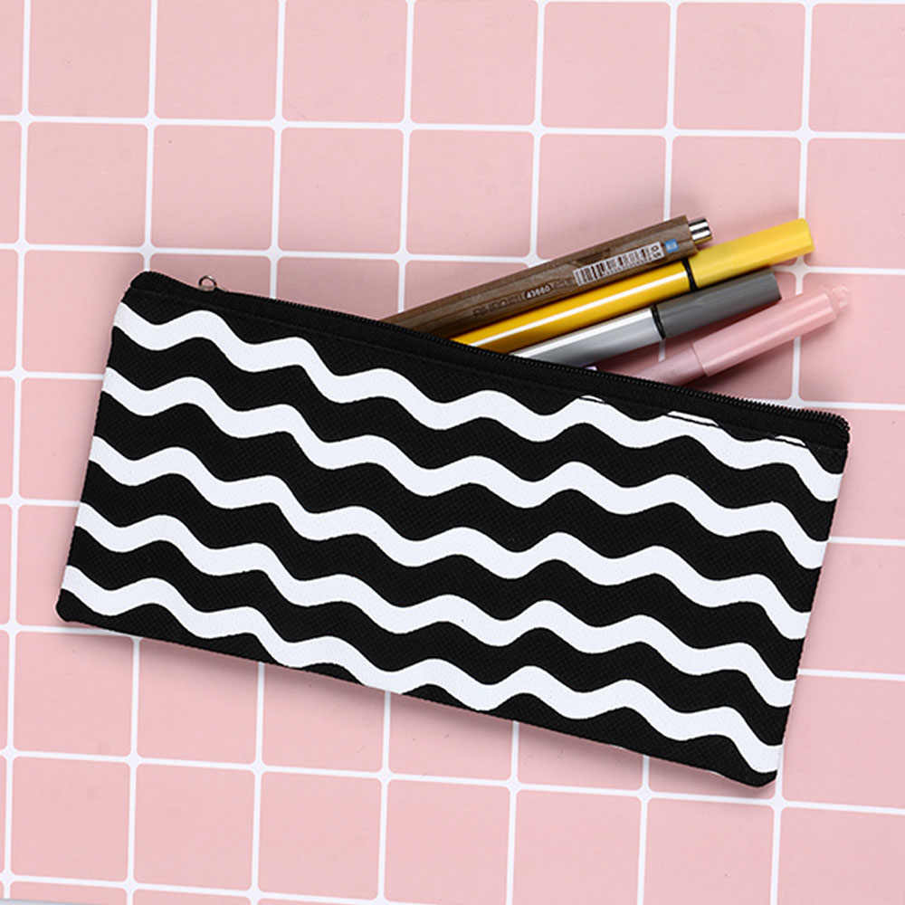 1PC New Fashion Simple Style Black&White Stripes Canvas Pencil Case Cosmetic Pouch Pen Bag Stationery Supplies
