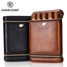 COHIBA Luxury Travel Cigar Case Holder Portable Cedar Wood leather humidor Humidifier Moisturizing free ship CF-0135
