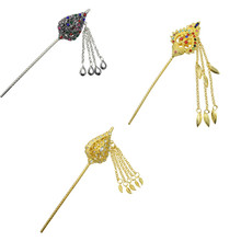 Anese Ethnic Silver Gold Metal Tel Hair Sticks Wedding Headpiece For Women Accessories Thailand India