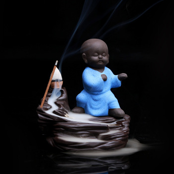Blue Little Kung Fu Monk Censer Ceramic Yixing Buddha Backflow Stick Incense Burner Stick Incense Holder Base Pottery Tea Pet