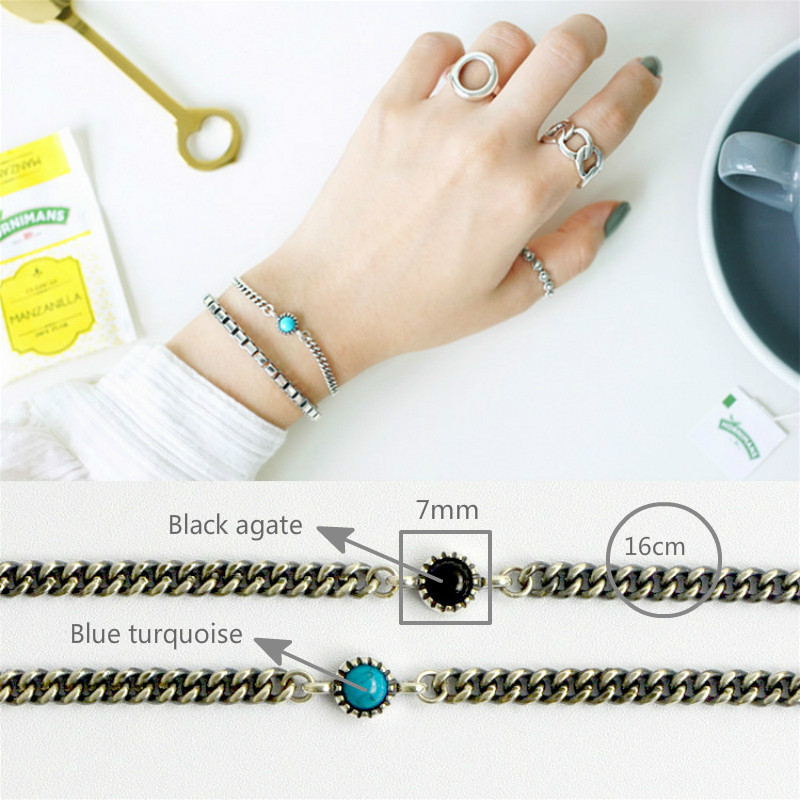 Flyleaf 925 Sterling Silver Bracelets For Women Round Black Agate Turquoise Simple Fashion Fine Jewelry Bracelets Bangles in Bracelets Bangles from Jewelry Accessories