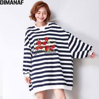DIMANAF Plus Size Women T Shirt Cotton Batwing Rose Embroidery Preppy Style Striped Print Fashion Autumn