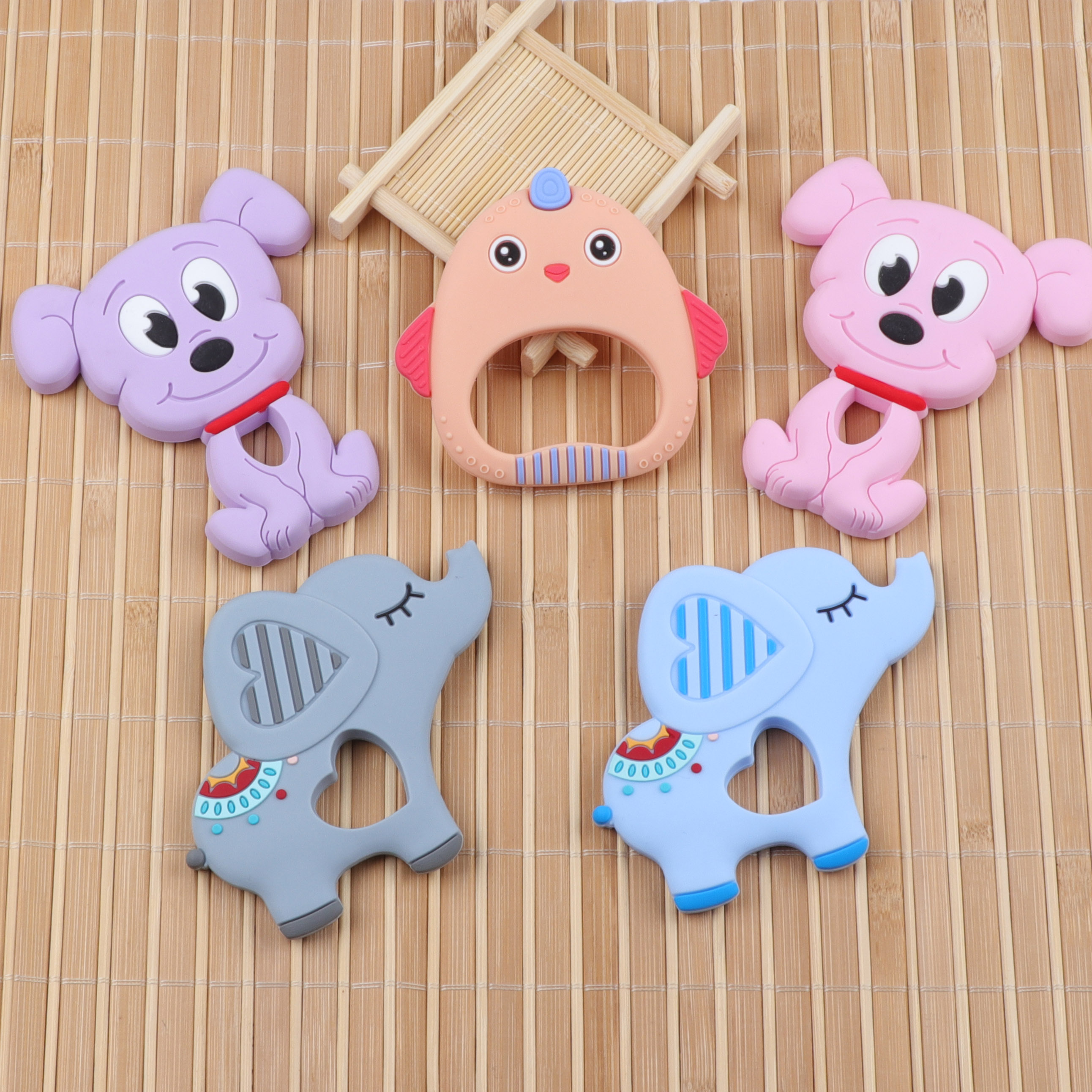 TYRY.HU 1pc Cartoon Animal Silicone Teether Rodents Food Grade Baby Teething Beads Toy Necklace DIY Pacifier Chain Baby Products