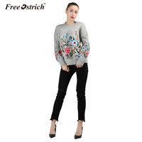 Free Ostrich Winter Knitted Sweater Women Floral Embroidery Long Sleeve Pull Femme Hiver Light Gray Jumper