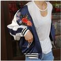 Прохладный цветочные вышивка бомбардировщик куртка Лето пятно женщины пальто куртки Вскользь sukajan основные бейсбол сувенир куртки весте H9407