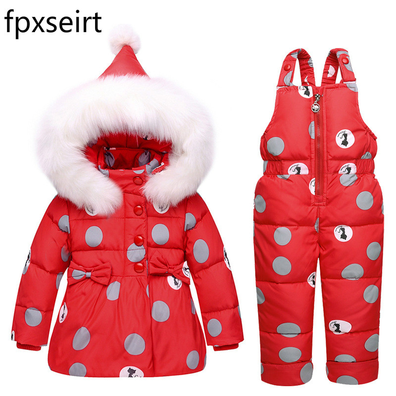 Childrens down jacket suit white duck down coat + pants -30 degrees Russian winter girl boy ski snow childrens clothing suit