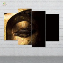 Gold Buddha Face Art Modern Wall Pictures HD Printed Canvas Painting Modular Paints Home Decoration 4 Pieces