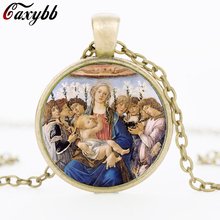 The best-selling Blessed Virgin Mary Mother of Baby necklace Jesus Christ Christian pendant Catholic Religious Glass Necklace Je