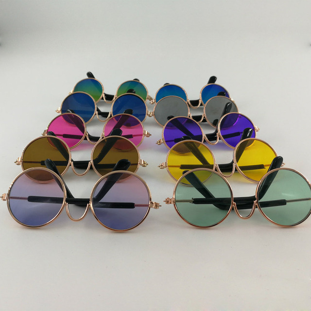 99d826c16d9 500 pcs lot Fashion Small Pet Dogs Cat Sunglasses Cool Eye-wear Protection Pet  Glasses Round Frame Wedding Party Funny Glasses