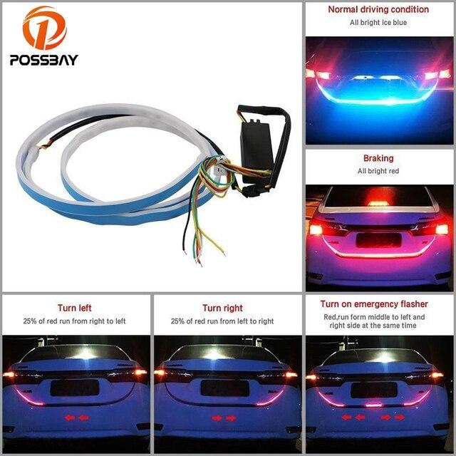 possbay flexibele led strip verlichting auto vrachtwagen achterlicht bar dynamische streamer brake reverse richtingaanwijzer lamp rood