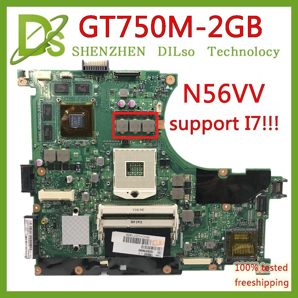 KEFU N56VV Motherboard For ASUS N56VM N56VJ N56VZ N56VB N56V Laptop Motherboard GT750 2GB Mainboard Support I7 Test Motherboard