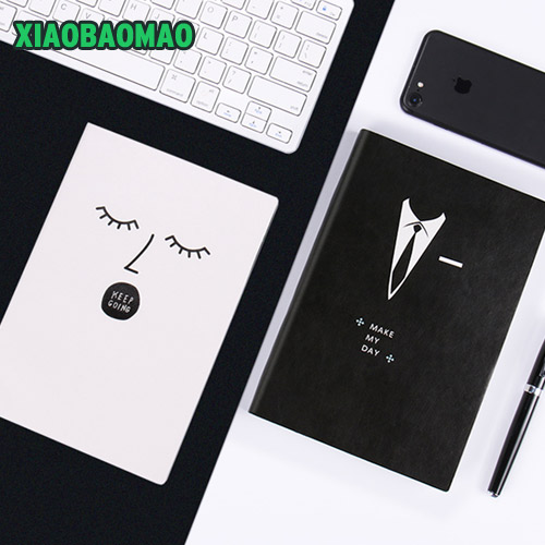 Creative! Couples Style Men Women 2018 Notebook A5 Note Book PU Planner Kawaii Cover Horizontal blank page creative flip book page led nightlight