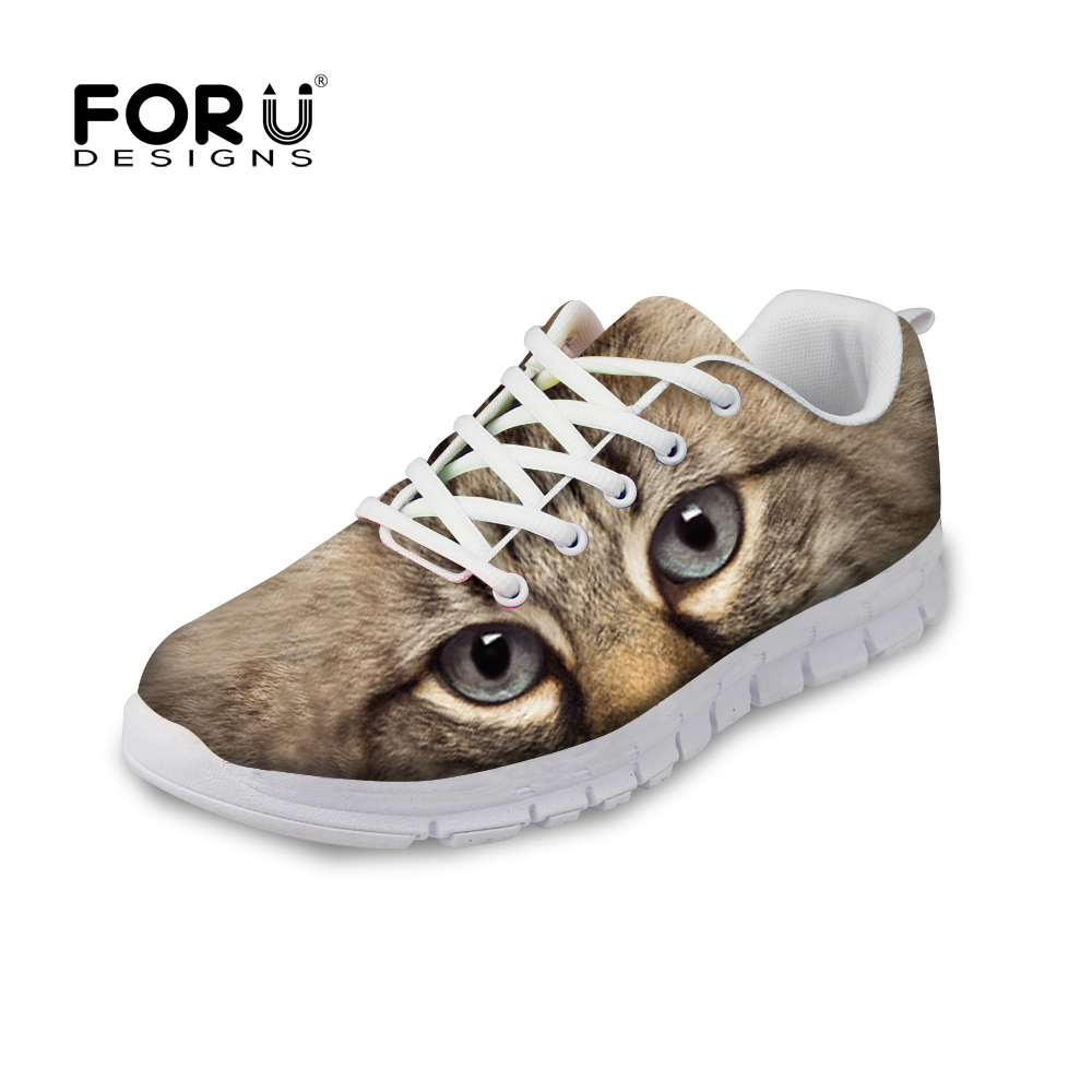 FORUDESIGNS Women Cute Flat Shoes 3D Animal Cat Dog Pattern Ladies Footwear Breathable Comfortable Shoes Flats Female Leisure