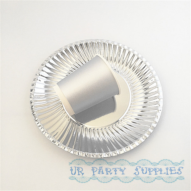 Party supplies 60PCS Birthday Party Decoration Disposable Tableware 30pcs Silver Foil Plates and 30pcs Silver Foil Drinking Cups serveware