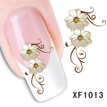 цена на 2017 Waterproof Water Transfer Nails Art Sticker Beautiful Flower Design Girl And Women Manicure Tools Nail Wraps Decals Xf1013