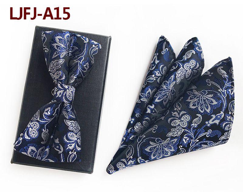 Мужской модный галстук набор полиэфирных шелковых галстуков наборы из двух частей жаккардовые галстуки для мужчин галстук носовой платок галстук-бабочка - Цвет: LJFJ-A15