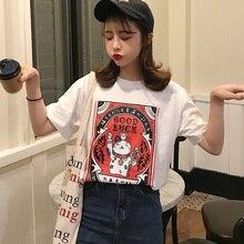 Summer casual Women T Shirt Harajuku Short Sleeve Funny Ulzzang cartoon print T-Shirts kawaii girls