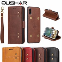 QuShar Business TPU Back Cover For Iphone X Capa Para Luxury Leather Flip Case For IPhoneX