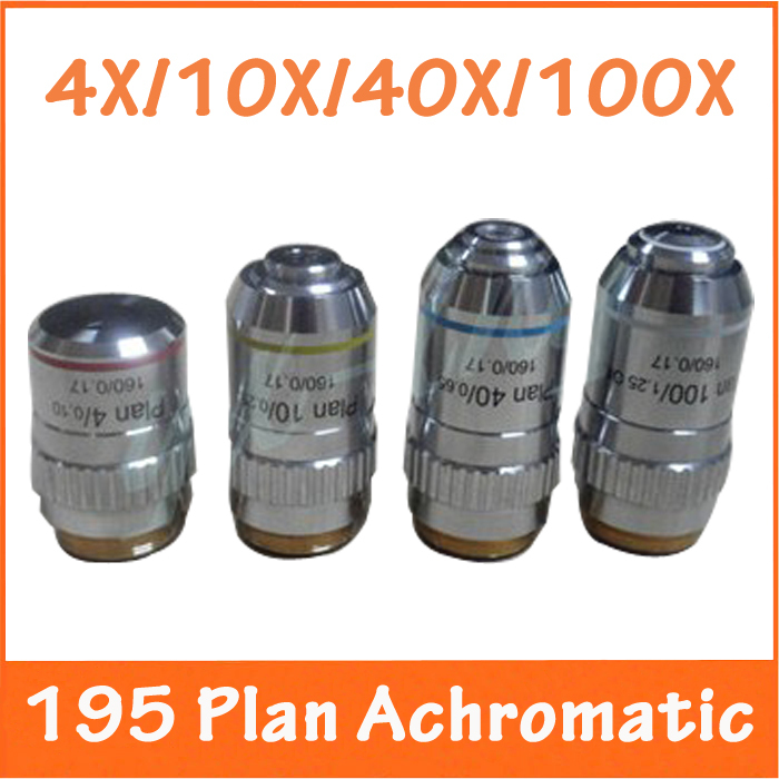 4X, 10X, 40X, 100X 4PCS L=195 Plan Achromatic Bio-Microscope Biological Microscope Objective Lens Thread Diameter 20.2MMx0.705 brand new microscope achromatic objective lens 4x 10x 40x 100x set free shipping page 2