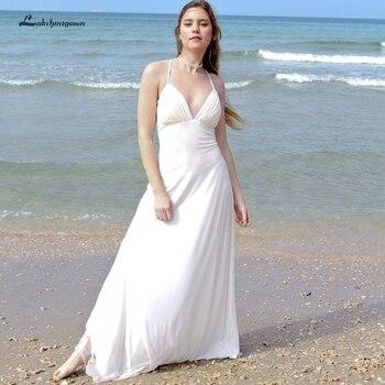 Lakshmigown White Chiffon Long Beach Wedding Dresses Open Back 2019 Gelinlik Boho Wedding Dress Elegant Bridal Gown Brautkleid
