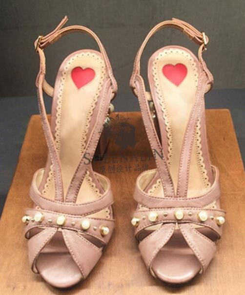 2019 summer new fashion leather women s pearls rivets chunky high heel sheepskin sandal woman slingback