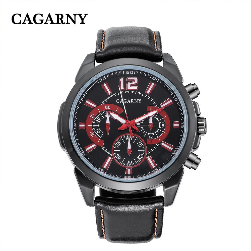 quartz wristwatches leather strap sports watches casual mens wrist watch black case (1)