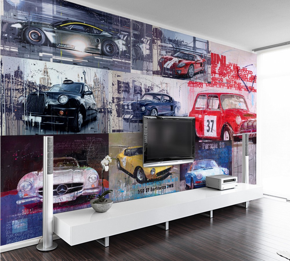 Free shipping Custom Mural Cool Retro Vintage Luxury Sports Car Tooling Background Wallpaper Classic Wall Mural Wallpaper Car free shipping hepburn classic black and white photographs women s clothing store cafe background mural non woven wallpaper