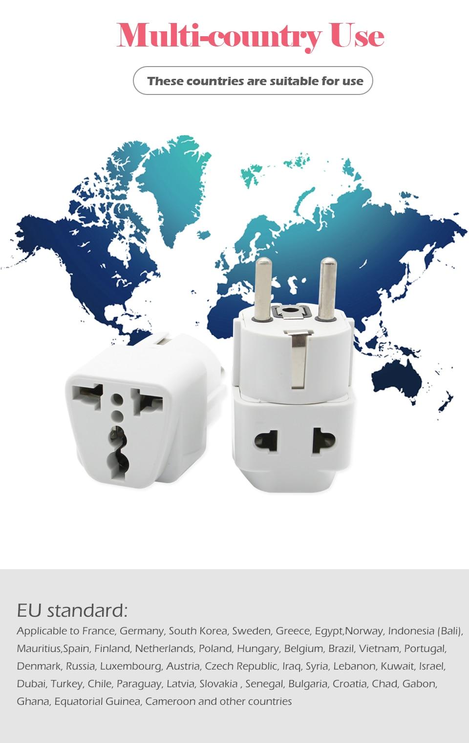 1PC European EU Plug Adapter High Quality Practical Universal US UK AU to EU Plug Travel Power Adaptor Electric Charger Sockets (5)