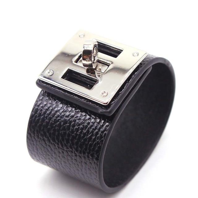2018 European Fashion Punk Wide Leather Bracelets & Bangles for Women Cuff Bracelet Statement Jewelry Valentines Gift