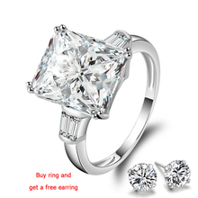 QYI Engagement ring 5 Carat Superior grade zircon Bridal Rings 925 Sterling Silver White Gold Color Women Gift