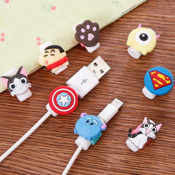 FFFAS Cartoon USB Cable Protector Organizer Pretty Winder Cover Case Shell For Apple IPhone 5 5s 6 6s 7 8 X Plus Cable Protect