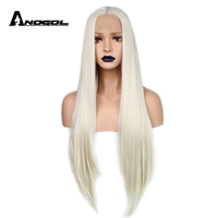 Anogol Long Natural Straight White Blonde Glueless High Temperature Fiber Middle Part Synthetic Lace Front Wig For Women