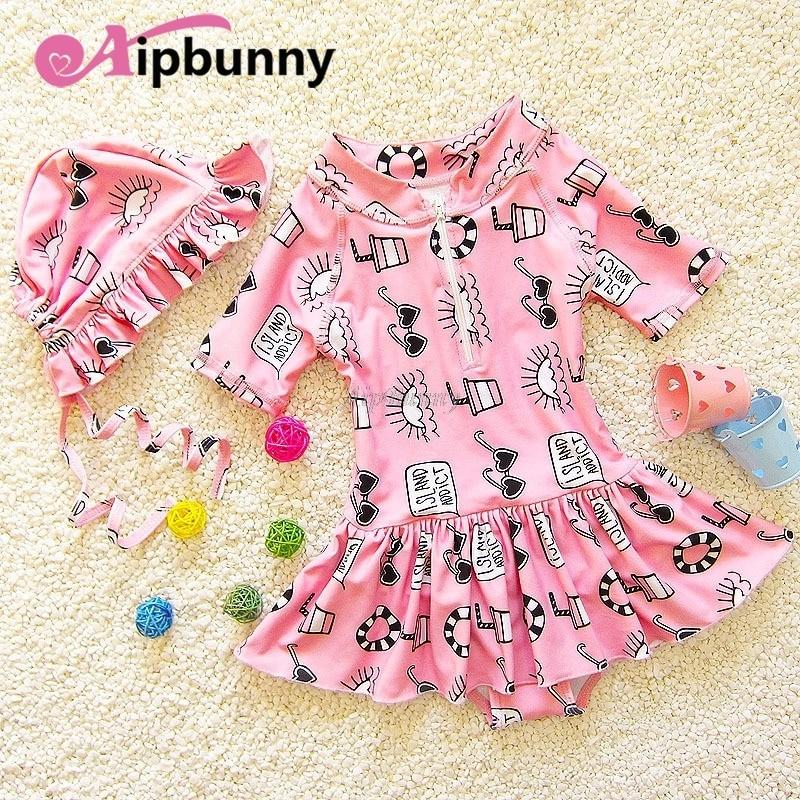 1 Pcs Cartoon Piece Bikini Animed Swimwear Kids girl Ruffle Short Sleeves Dress Suit Printed Infantil Hat & 1 One