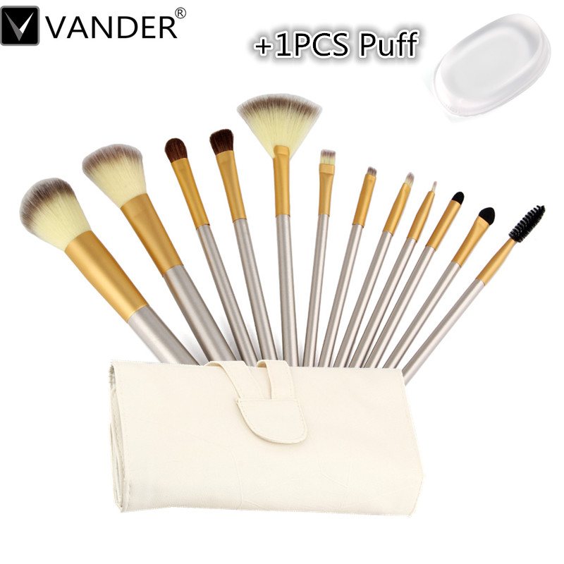 Vander 12pcs Cosmetic Cover Brush + 1PCS Transparent Jelly Puff Professional Makeup Set Cosmetic Brush Tool Set