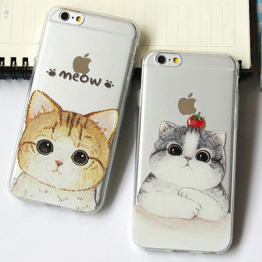 Cute Vintage Cat Meow Watercolor Hand Draw Printed Soft Phone Case Cover For iPhone 7Plus 7