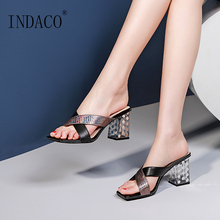 Summer Sandals Open Toe Slides High Heel Slip-on White Women Transparent