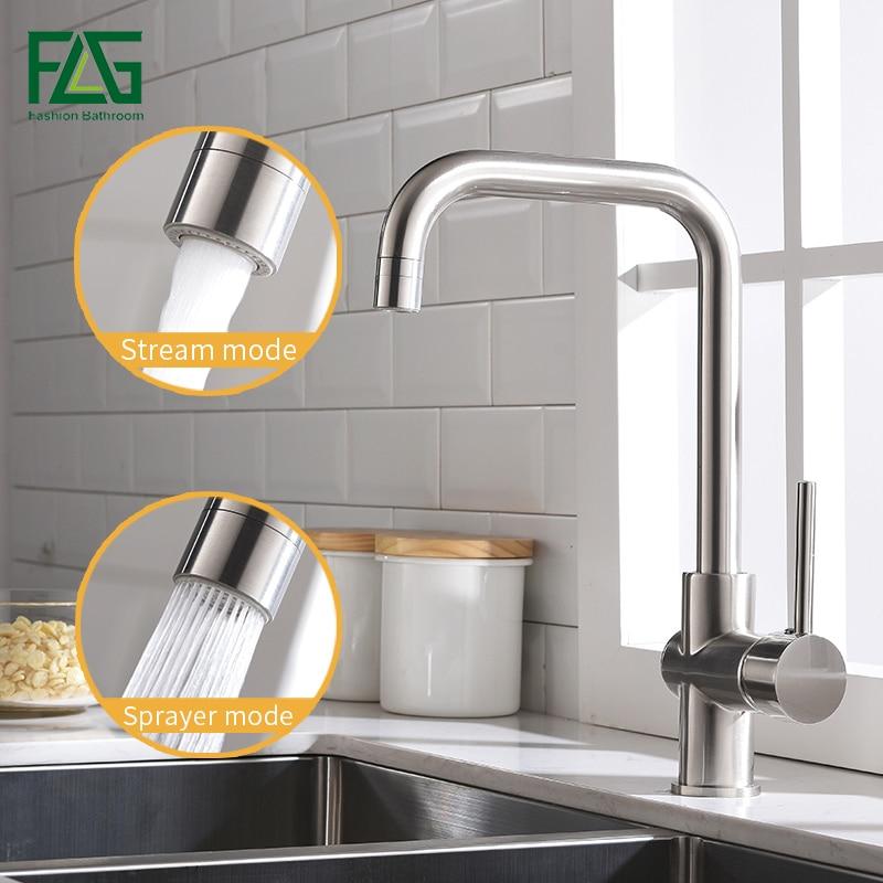 FLG Misturador Da Cozinha Níquel Escovado Torneira Da Cozinha Deck Montar 360 Swivel 2 Função Misturador de Água Fria e Quente Torneira de Saída de Água 1011-33N